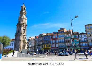 PORTO, PORTUGAL - SEP 23, 2018: Clerigos Tower, the highest bell tower of Portugal, with over 75 metres, built in the eighteenth century the most emblematic work of the architect Nicolau Nasoni.