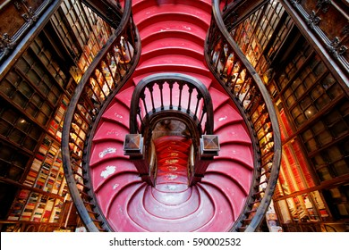 PORTO, PORTUGAL - SEPTEMBER, 2016: High angle view of stairs in the bookstore Livraria Lello