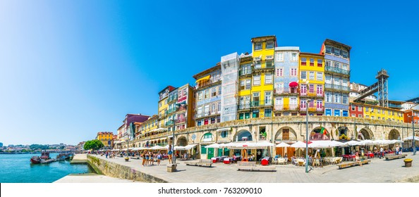 PORTO, PORTUGAL, SEPTEMBER 5, 2016: Waterfront of river douro in Porto, Portugal.
