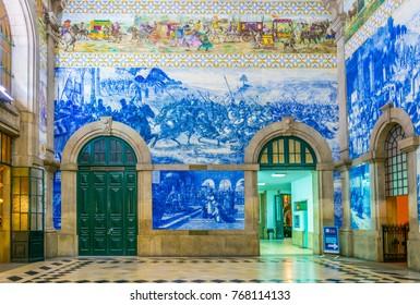 PORTO, PORTUGAL, SEPTEMBER 5, 2016: Azulejos mosaics in the main train station in Porto, Portugal.