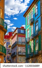 Porto, Portugal. Traditional houses with walls, covered with decorative portuguese tiles azulejo.
