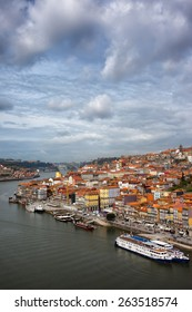 Porto in Portugal. View over historical city centre and Douro river from above.