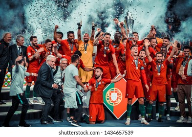 PORTO, PORTUGLAL - June 09, 2019: Portugal's Cristiano Ronaldo and team mates celebrate winning the UEFA Nations League Final with the trophy after the UEFA Nations League Finals match, Portugal