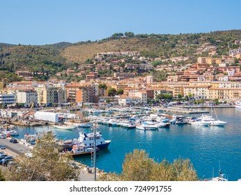 PORTO SANTO STEFANO, ITALY - AUGUST 30, 2017 - Sunny view of the port.