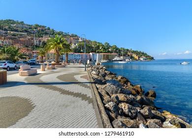 Porto Santo Stefano, Italy - October 09, 2018: Seafront of seaport town Porto Santo Stefano in Monte Argentario. Tuscany. Italy