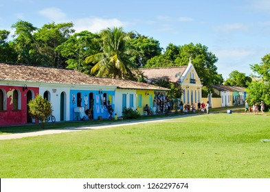 Porto Seguro/Bahia/Brazil - January 01, 2018: Colorful houses in the historic center of Porto Seguro transformed into stores for sale of souvenirs and products for tourists.