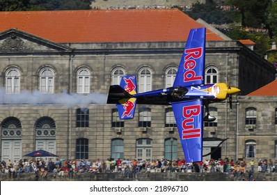 PORTO - SEPTEMBER 1, 2007: P. Bonhomme of the UK participating in the event of the Red Bull Air Race in September 1, 2007 in Porto in Portugal