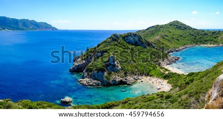 Porto Timoni, the best beach in Corfu island, Greece. Important tourist attraction.