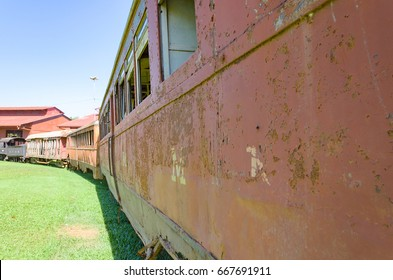 PORTO VELHO, BRAZIL - JUNE 16, 2017: Open air museum Estrada de Ferro Madeira-Mamore in Porto Velho. Old trains that were abandoned are now tourist attractions on EFMM square.