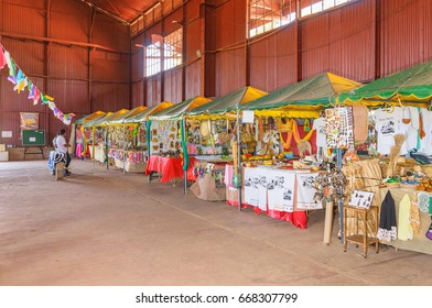 PORTO VELHO, BRAZIL - JUNE 16, 2017: Inside the big red hangar on Estrada de Ferro Madeira-Mamore. The old train hangar has some shops with local stuff and local culture inside.