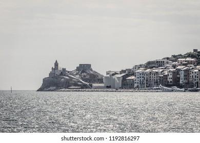 Porto Venere (Italy) Beautiful Ligurian town seen from a sailing yacht