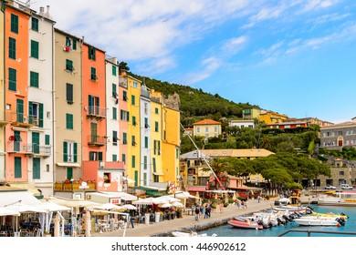 PORTO VENERE, ITALY - MAY 5, 2016: Marina (riviera) of Porto Venere, Italy. P Venere and the villages of Cinque Terre are the UNESCO World Heritage Site.