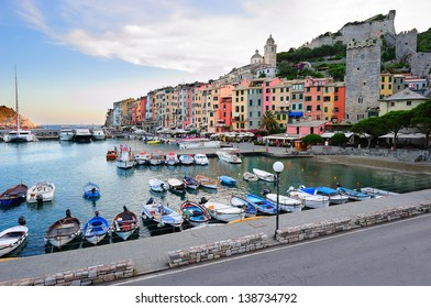 Porto Venere landscape with colorful houses and the fortress (Liguria, Italy)