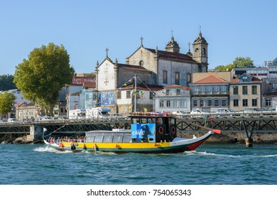 Porto-August 2017: Boat with tourists on Douro river