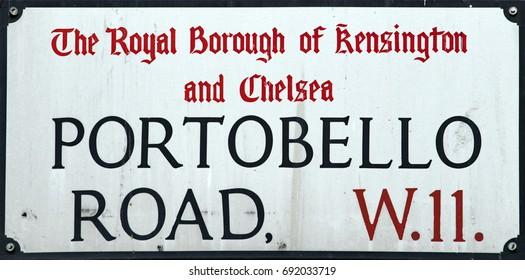 portobello road london market street sign detail close up