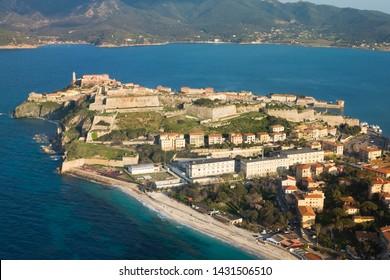 Portoferraio, Elba Island, Tuscany, Italy: aerial view of the old marina