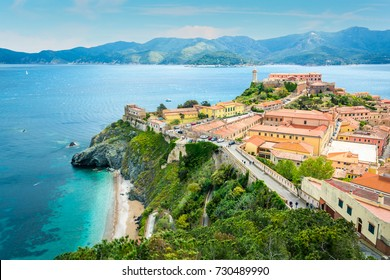 Portoferraio in Elba Island, view from the fortress walls, Tuscany, Italy