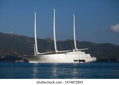 Portoferraio, Elba, Italy - July 4, 2018: Amazing Sailing Yacht A designed by a famous architect Philippe Starck is anchored near the Italian island Elba.