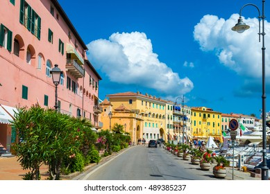 Portoferraio steet of  isola d'Elba, Elba island in Tuscany region, Italy.