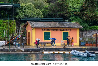 Portofino, Genoa / Italy - April 25 2019: The small clubhouse of the Italian Yacht Club, founded in 1879, its the longest established sailing club in Italy and one of the oldest in the Mediterranean