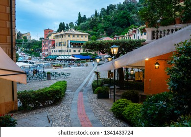 Portofino Italian fishing village with colorful facades and luxury shops.Genoa province, Italy. A vacation resort with a picturesque harbour and with celebrity and famous visitors.