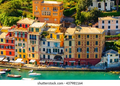 Portofino, an Italian fishing village, Genoa province, Italy. A vacation resort with a picturesque harbour and with celebrity and artistic visitors.