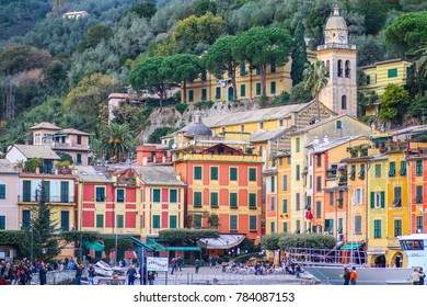PORTOFINO, ITALY - 01/03/2016: Colorful houses of the Piazzetta square of Portofino