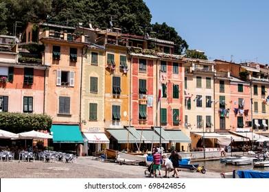 PORTOFINO, ITALY, 26/07/2012: Typical mediterranean bay with boat, Portofino, Liguria, Italy