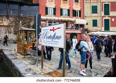 Portofino, Italy - Apr 2017: Crowd waiting for a cruise at Portofino pier