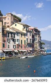 Portofino, Italy - April 6, 2015: View of Portofino. Famous tourist destination in the region of Liguria in Italy