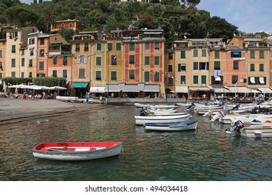 PORTOFINO, ITALY - AUGUST 2016: Landscape of Portofino town in Liguria in Italy - Beautiful houses, yachts and boats in harbor, August 18, 2016