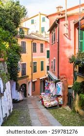 PORTOFINO, ITALY - MAR 7, 2015: Colorful architecture on the Piazzetta square of Portofino. Portofino is a resort famous for its picturesque harbour