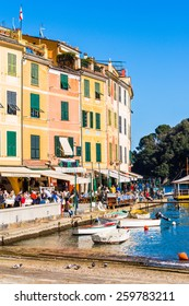 PORTOFINO, ITALY - MAR 7, 2015: Architecture of  Portofino, Italy. Portofino is a resort famous for its picturesque harbour