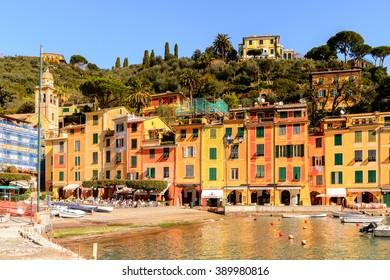 PORTOFINO, ITALY - MAR 7, 2015: Beautiful colorful houses in Portofino. Portofino is a resort famous for its picturesque harbour