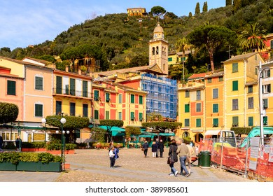PORTOFINO, ITALY - MAR 7, 2015: Colorful architecture on the Piazzetta square of Portofino. Portofino is a resort famous for its picturesque harbour