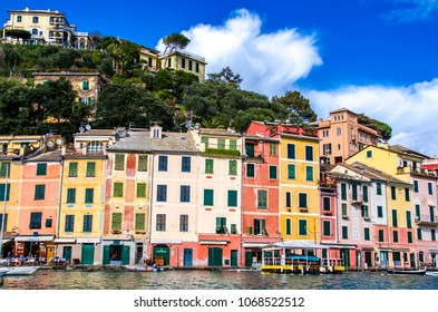 PORTOFINO, ITALY - MARCH 12, 2018: Traditional buildings at Portofino, Italy. Portofino is one of the most popular resort towns on the Italian Riviera