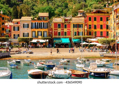 PORTOFINO, ITALY - MAY 4, 2016: Beautiful view of Portofino, an Italian fishing village, Genoa province, Italy. A vacation resort with a picturesque harbour and with celebrity and artistic visitors.