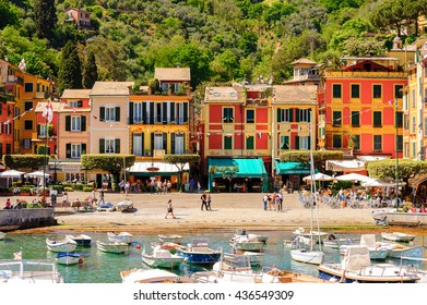 PORTOFINO, ITALY - MAY 4, 2016: Portofino, an Italian fishing village, Genoa province, Italy. A vacation resort with a picturesque harbour and with celebrity and artistic visitors.