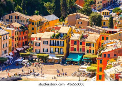 PORTOFINO, ITALY - MAY 4, 2016: Aerial panorama of Portofino, an Italian fishing village, Genoa province, Italy. A vacation resort with a picturesque harbour and with celebrity and artistic visitors.