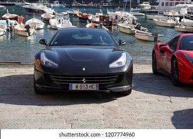 PORTOFINO, ITALY - OCTOBER 20, 2018 - Ferrari holds 70 years anniversary celebration with a supercar convention, The new Ferrari Portofino is in its home town village