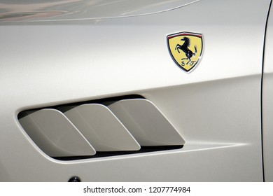 PORTOFINO, ITALY - OCTOBER 20, 2018 - Ferrari holds 70 years anniversary celebration with a supercar convention, The new Ferrari Portofino is in its home town village