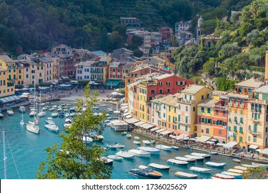 PORTOFINO, ITALY - Sep 28, 2019: View over the beautiful and colourful harbour of Portofino, Italy during summer of 2019