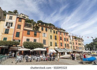 PORTOFINO, ITALY- SEPTEMBER 19, 2013: Maritime view of famous village in ligurian coast.