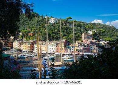 Portofino, Italy - September 21, 2013: Port of Portofino. Too many yachts and tourists like this place