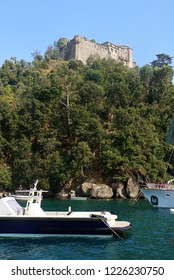 Portofino, Italy - view of medieval Castello Brown, built for harbor defence in 15th century