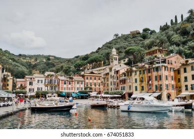 Portofino italy yacht sea mountains