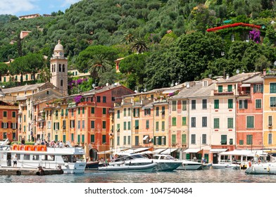 Portofino, Liguria, Italy - 2010: One of the most characteristic villages of Liguria, stands in the middle of a natural promontory formed by the bay of Portofino Bay
