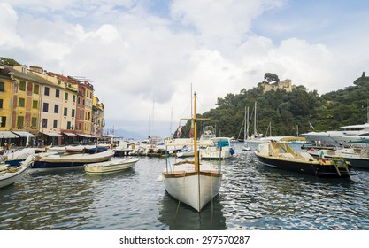 PORTOFINO, LIGURIA, ITALY - JUNE 23, 2015. Rainy evening summer at Portofino Village, popular  attraction on Ligurian Coast, Italy.