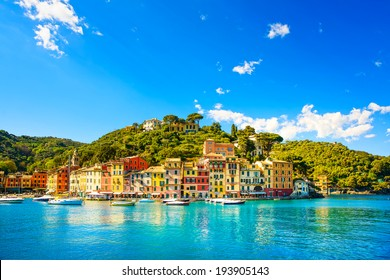 Portofino luxury landmark panorama. Village and yacht in little bay harbor. Liguria, Italy