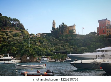 Portofino view, St.George fort and church overlooking the bay